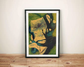 Yellow abstract art, green abstract art, large abstract print, abstract art print, office wall decor, modern abstract art, yellow wall art