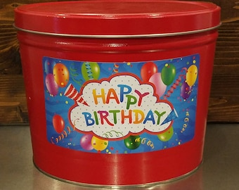 Special Occasion Tin Gourmet Popcorn (2 Gal) | Ships FREE, Birthday Gift, Graduation, Thank You, Congrats, Celebrate, Party, Can, Container