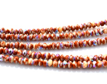 Earth Browns with AB 5x3mm Faceted Rondelle Beads  50
