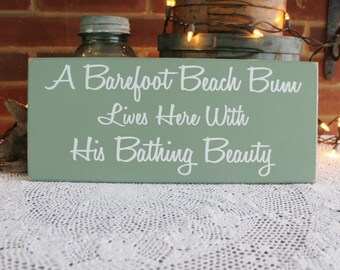 Beach Sign Wood Beach Bum lives here Bathing Beauty, Coastal Wall Decor, Cottage Decor, Seaside