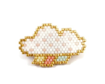 PIN cloud white and Golden beads Miyuki