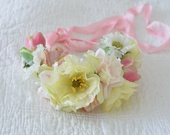 Flower crown made with millinery flowers  Handmade in England