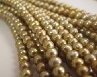 6-7 mm Large Hole Potato Freshwater Pearl Light Champagne Color Hole Size 1.8mm, Large Hole Beads, Large Hole Pearl Beads  (06-LHPCP0607)