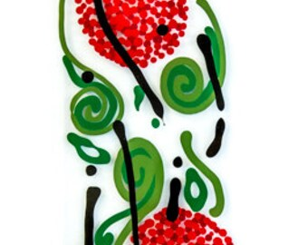 """Red flowers, with green leaf and black swirls  4x 24"""""""