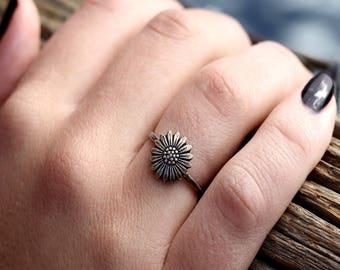 Rustic Boho Flower Ring, Hipster Flower Ring, Sunflower Ring, Hipster Stack Ring, Stacking Rings, Flower Rings, Sterling Silver, Brass