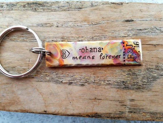 Personalized stamped ohana keychain wedding anniversary gift