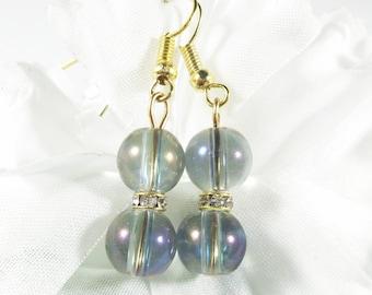 Smokey Gray Glass Bead Earrings w Rhinestone Accents,  Fashion Earrings Elegant Earrings, Bohemian Earrings, Womens Matching Jewelry Sets