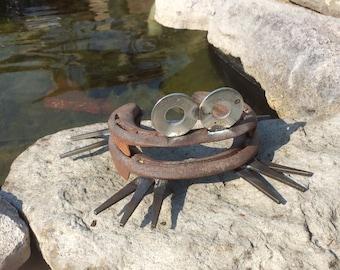 Primitive Garden Folk art, metal Horseshoe frog, garden art