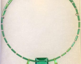 Memory Wire Necklace Choker Handmade with Emerald Green Beads
