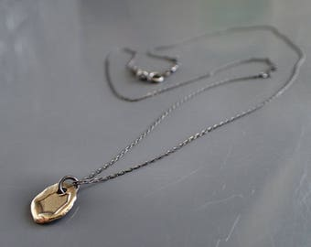 Tiny Coin Disc Necklace, Oxidized Sterling Silver Delicate Necklace, Everyday Small Bronze Medallion, Mixed Metal, Two Tone, Wax Seal,Rustic