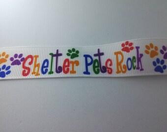 2 Metres Shelter Pets Rock Grosgrain Ribbon