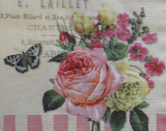 2 pink Shabby Chic paper napkins - decoupage paper Napkins
