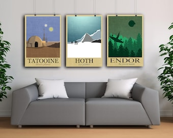 Retro Travel Poster Set Star Wars poster Endor planet Hoth posters Tatooine wall art