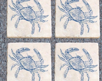 Blue Crab,Coasters Illustration Heat Set, Set of 4Tumbled Marble