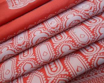 Free Shipping Orange Antique Vintage Sari Art Silk Saree Indian Self Woven Fabric Scrap Craft Floral Clothing Sarong Party Wear MD849