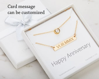 Double layer CZ Bar necklace,initial bar necklace,Roman date bar necklace,custom font engraving,Rectangle monogram necklace,bridesmaid gift