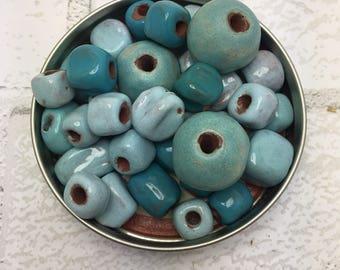 Sky Blue Bead Mix of 24, handmade in Haiti at Papillon Marketplace