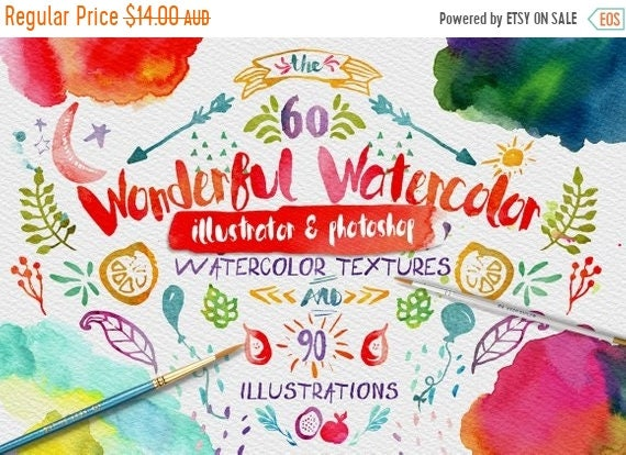 70% OFF Sale Wonderful Watercolor Digital Graphic Design Kit - Hand Painted Textures and Illustrations