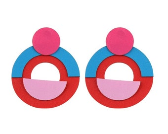 Leather Fashion Geometric earring (pink/red/blue)