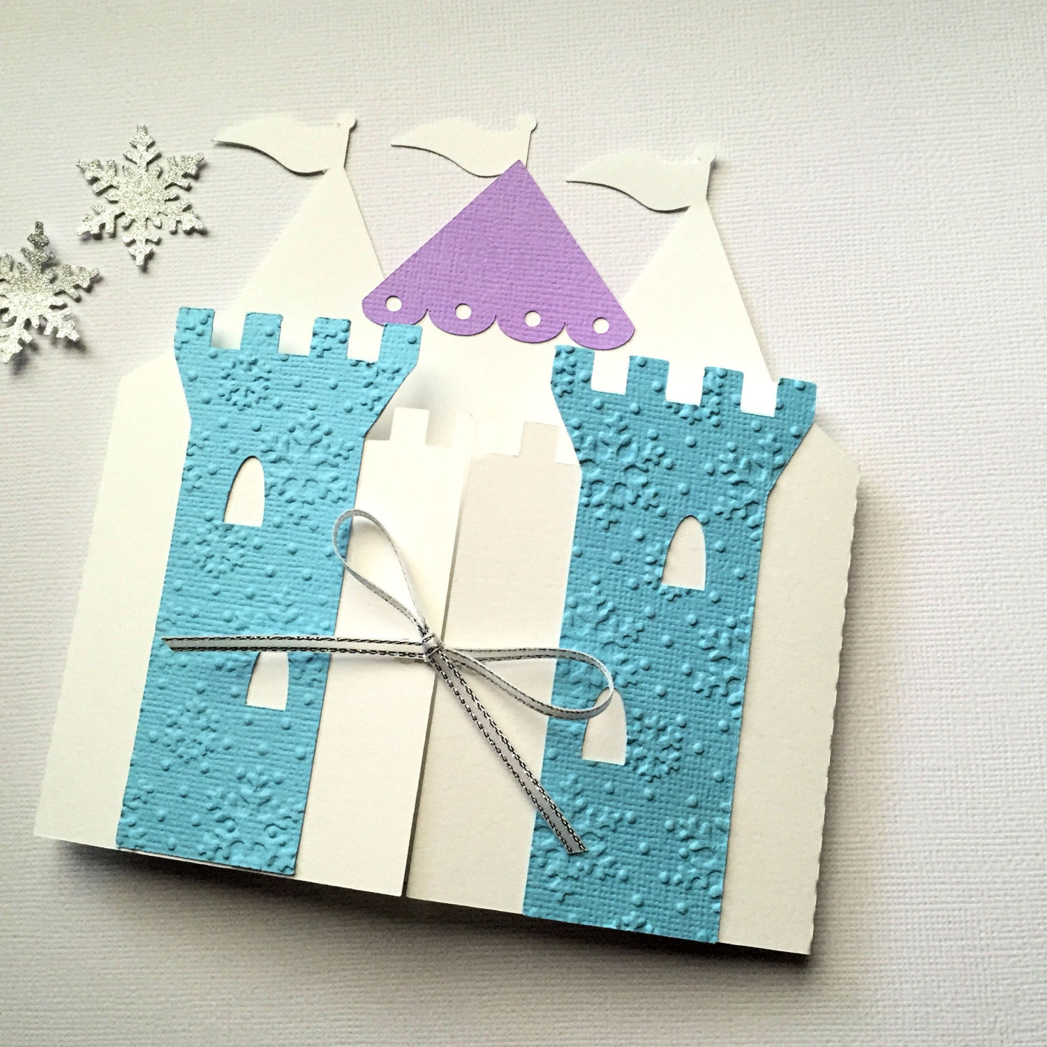 Ice Queen Princess Castle Invitation folders. Snowflake