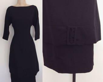 1960's Black Wiggle Dress w/ Double Skirt w/ Buckle Detail