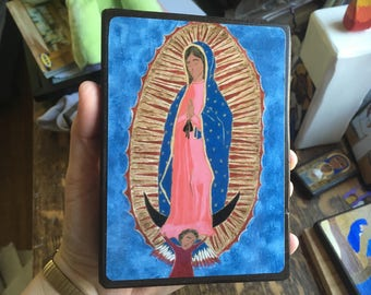"""4"""" X 6"""" Our Lady of Guadalupe Folk style icon on wood by DL Sayles"""