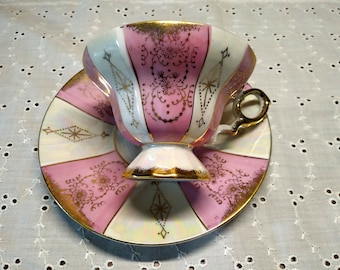 1940s tea cup and saucer  Royal Crown 905 Japan vintage pink, gold and luster, footed iridescent handpainted teacup set