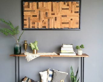 Heritage // mosaic reclaimed wood art // modern wood assemblage