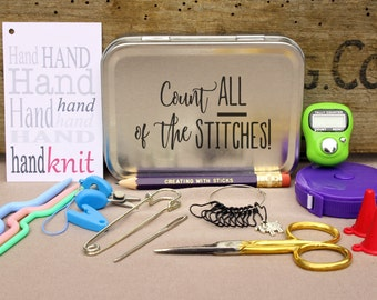 Knitting Notions Tin- Count All of the Stitches, Project Bag Tool Tin, Knitting Notions, Knitting Tool Box, Gift for Knitters, Knitting Kit