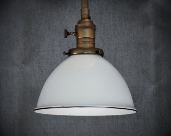 Semi Flush Light Fixture w/ White Porcelain Enamel Shade and Down Rod - Antique Reproduction Fixtures - Hand Finished Brass