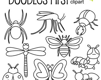 Insect Outlines Digital Clip Art for Scrapbooking Card Making Cupcake Toppers Paper Crafts