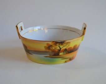 Handled 2-Piece Butter Dish Noritake Morimura Brothers Sunset Landscape Dish and Drain - Beautiful and Functional Antique China