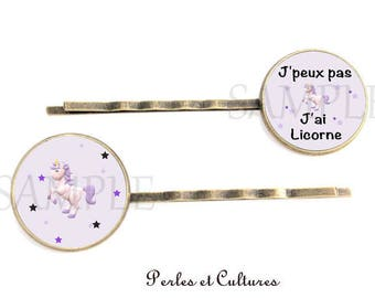 Hair clips x 2 Unicorn - purple black grey horse cabochon