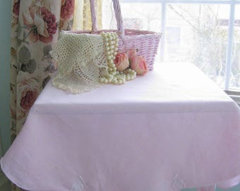 Pink Small Tablecloth, Square Linen Tablecloth, Dining Room Decor Tablecloth, Card Table Cloth, Romantic Home,  by mailordervintage on etsy