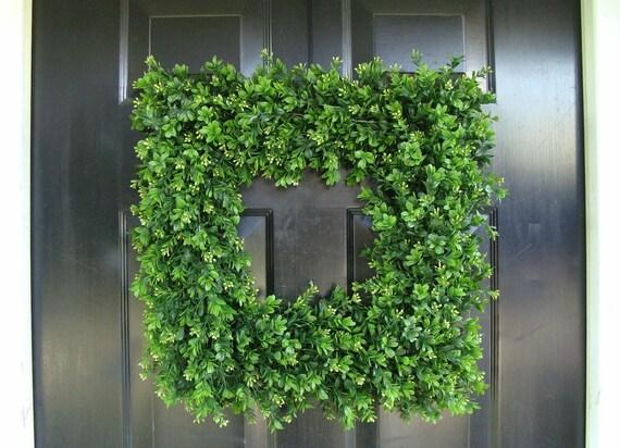 Custom Square Boxwood Wreath, Artificial Boxwood Wreath, Square Outdoor Decor,  Front Door Wreaths, THIN Wreath for