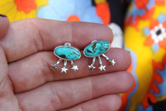 Star Dust//Natural Tyrone Turquoise Ear Jackets//Sterling Silver Posts