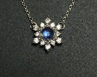 Snowflake sterling silver blue moonstone necklace 3.5mm, Christmas jewelry, gift spring jewelry