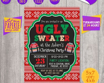 Ugly sweater invitation, ugly christmas sweater party invitation, ugly sweater party invite, ugly invitation, ugly party, sweater invitation