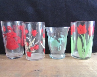 Mismatched Juice Glasses Red and GreenDrinking Glasses Small Tulips Camel