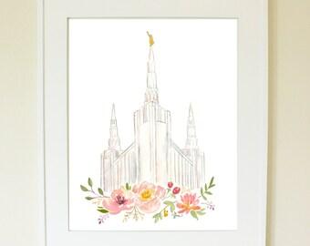 LDS temple watercolor Print (Portland, Oregon), Portland, Oregon Temple