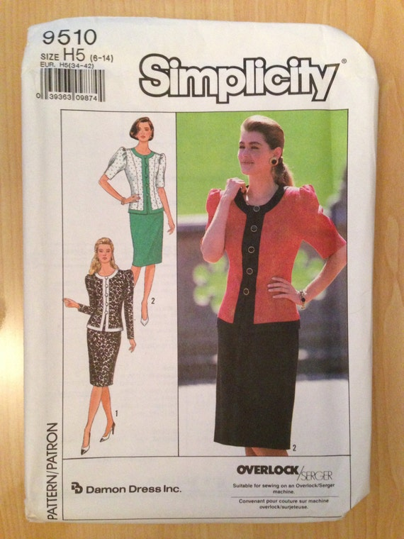 Simplicity 9510 Sewing Pattern 80s Uncut Misses and Misses Petite Two-Piece Dress Size 6-14
