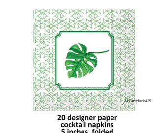palm leaf cocktail napkins, designer tableware, Rosanne Beck, tropical party decorations, luau, summer wedding, pool party, island theme