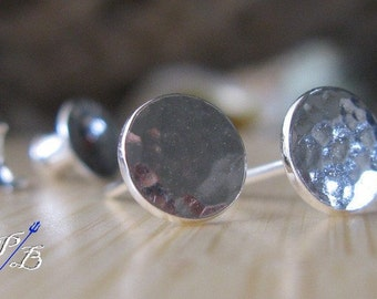Sterling silver stud earrings. Minimalist posts. Hammered discs. Polished, oxidized or brushed finish. Simple everyday jewelry. Womens gift.