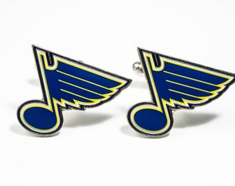 St. Louis Blues Cuff Links -- FREE SHIPPING with USPS First Class Domestic Mail