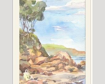 "Beach watercolor landscape - ORIGINAL plein air watercolour painting. 9.5"" x 6.5"" Seaside coast painting by Catalina"