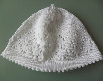 Baby Hat pattern white christening Cap
