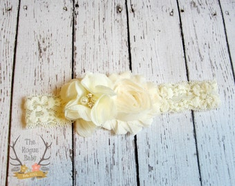 Serre-tête Ivoire - crème serre-tête - bandeau bébé - bandeau de dentelle - strass perles - Flower Girl - nouveau-né filles mariage