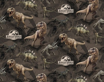 Jurassic World Dinosaur Terrain Cotton Fabric, 1 yard