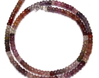 """Natural Gem Multicolor Spinel Faceted 4.5MM Rondelle Beads 18"""" Full Strand Israeli Machine Cut Beads Super Fine Quality Complete Necklace"""