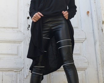 Black Leather Tight Pants / Extra Long Pants with Zippers / Statement Woman Leggings from Eco Leather by METAMORPHOZA